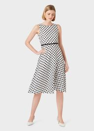 Adeline Jacquard  Spot Dress, Ivory Black, hi-res