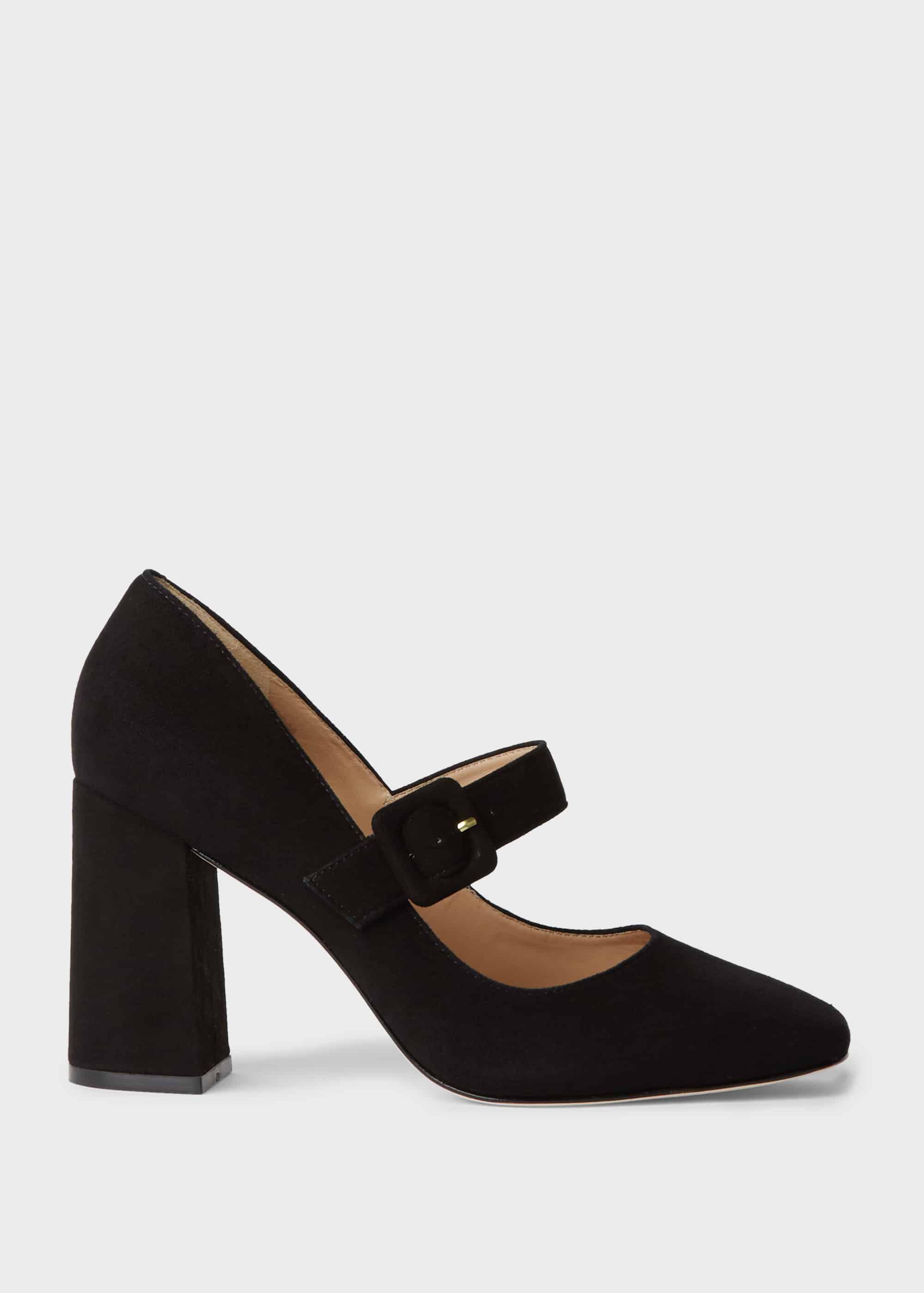 Darcie Suede Block Heel Court Shoes | Hobbs