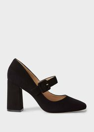 Darcie Suede Block Heel Court Shoes, Black, hi-res