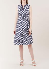 Bettie Dress, Navy White, hi-res