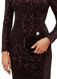 Felicity Velvet Clutch Bag, Black, hi-res