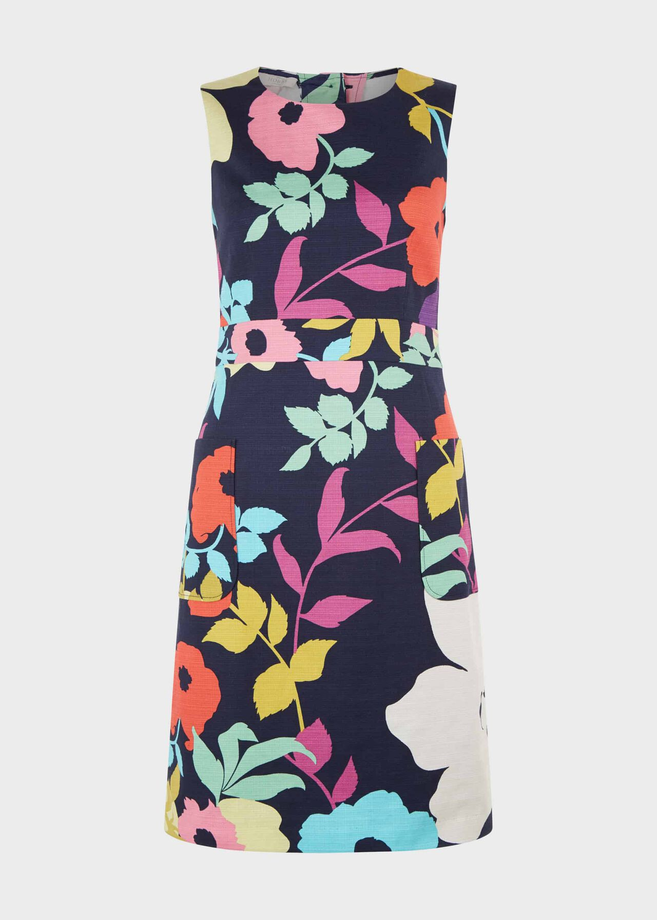 Allison Cotton Blend Floral Shift Dress Navy Multi