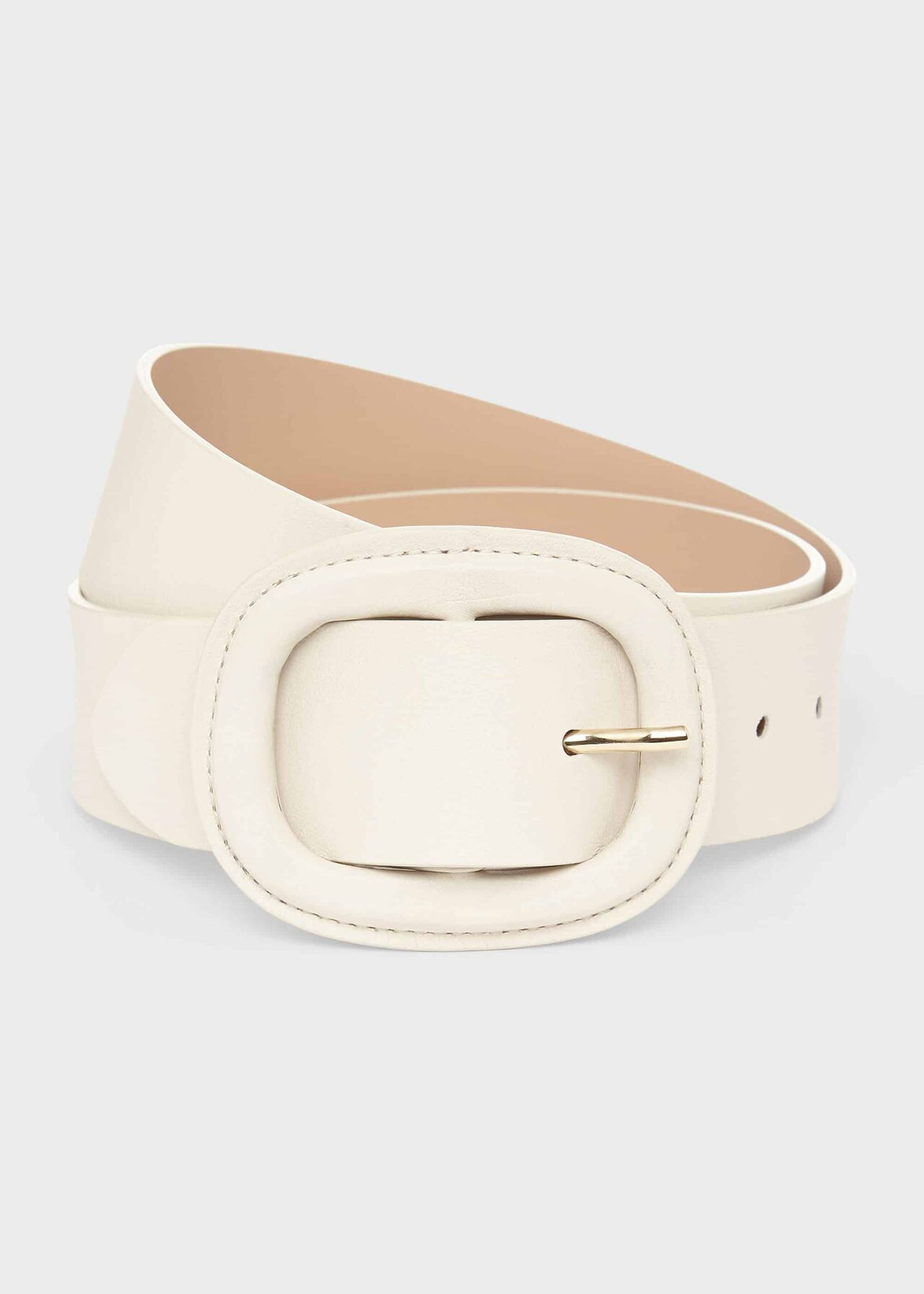 Abbie Leather Belt , Lily White, hi-res