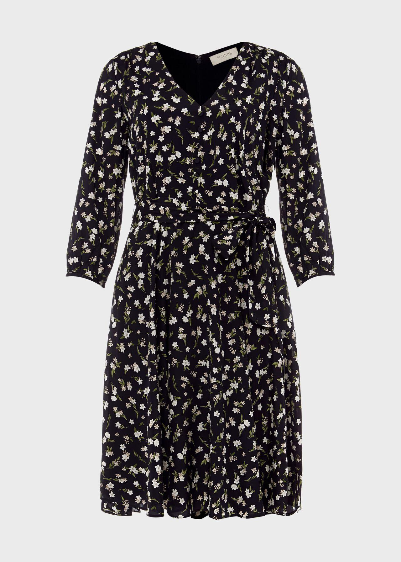 Elena Silk Blend Floral V Neck Dress, Navy Ivory, hi-res