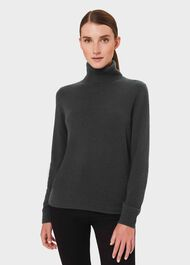 Amy Cashmere Rollneck Sweater, Green, hi-res