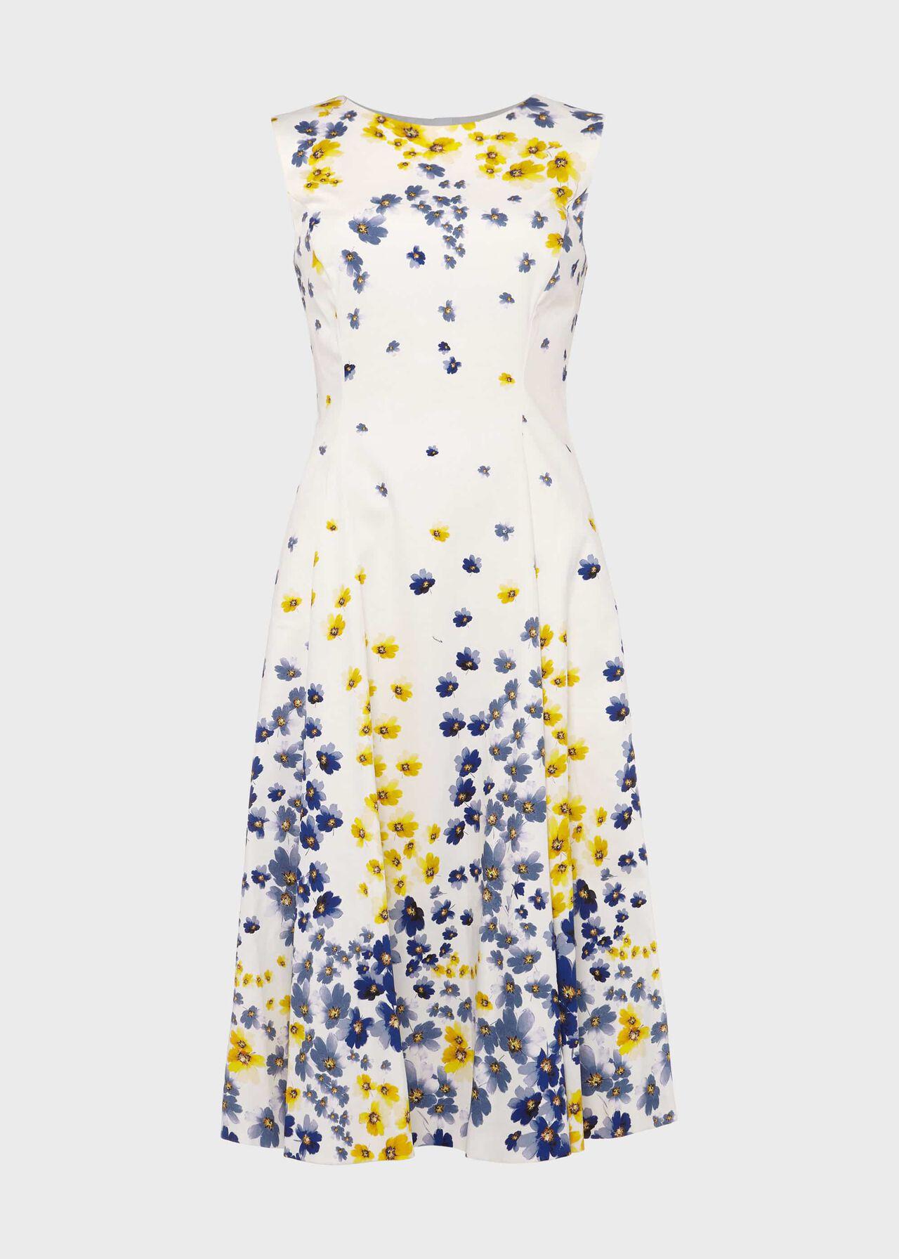Cleo Cotton Blend Floral Dress Ivory Multi