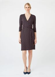 Delilah Wrap Dress, Navy Multi, hi-res