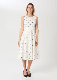 Evelyn Cotton Blend Spot Dress, Ivory Navy, hi-res