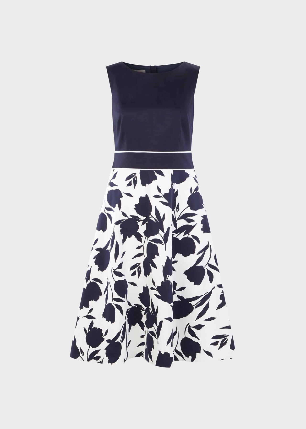 Una Cotton Blend Floral Dress Midnight Ivory