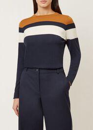 Kerri Merino Wool Sweater, Navy Multi, hi-res