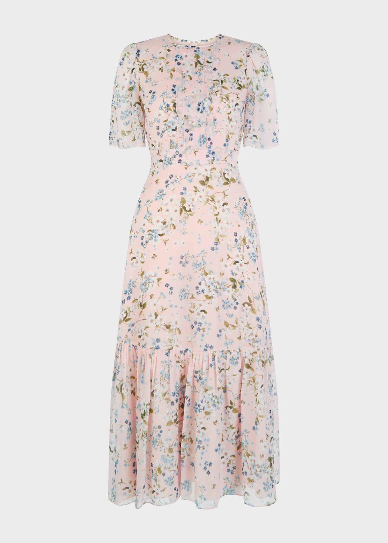 Silk Blossom Floral Midi Dress Blossom Pink