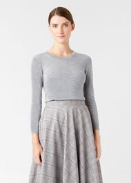 Penny Merino Wool Sweater, Grey Marl, hi-res