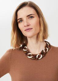 Emmy Resin Necklace, Brown, hi-res