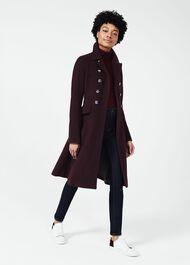 Francesca Wool Blend Coat, Aubergine, hi-res