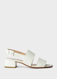 Claudia Leather Block Heel Sandals, Ice White, hi-res
