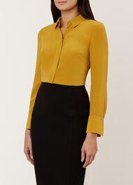 Odette Silk Shirt, Mustard, hi-res