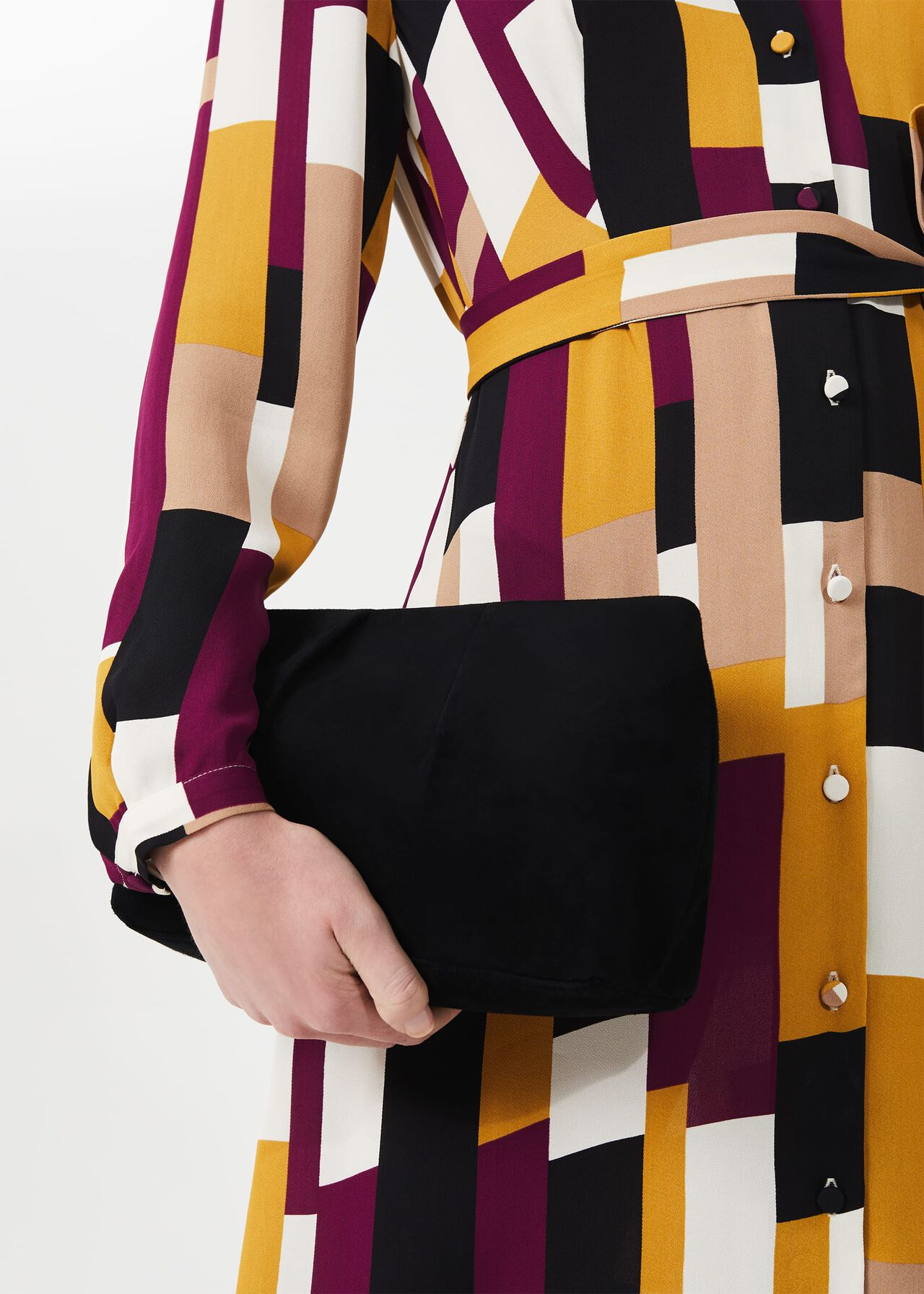 Clifton Suede Clutch Bag, Black, hi-res