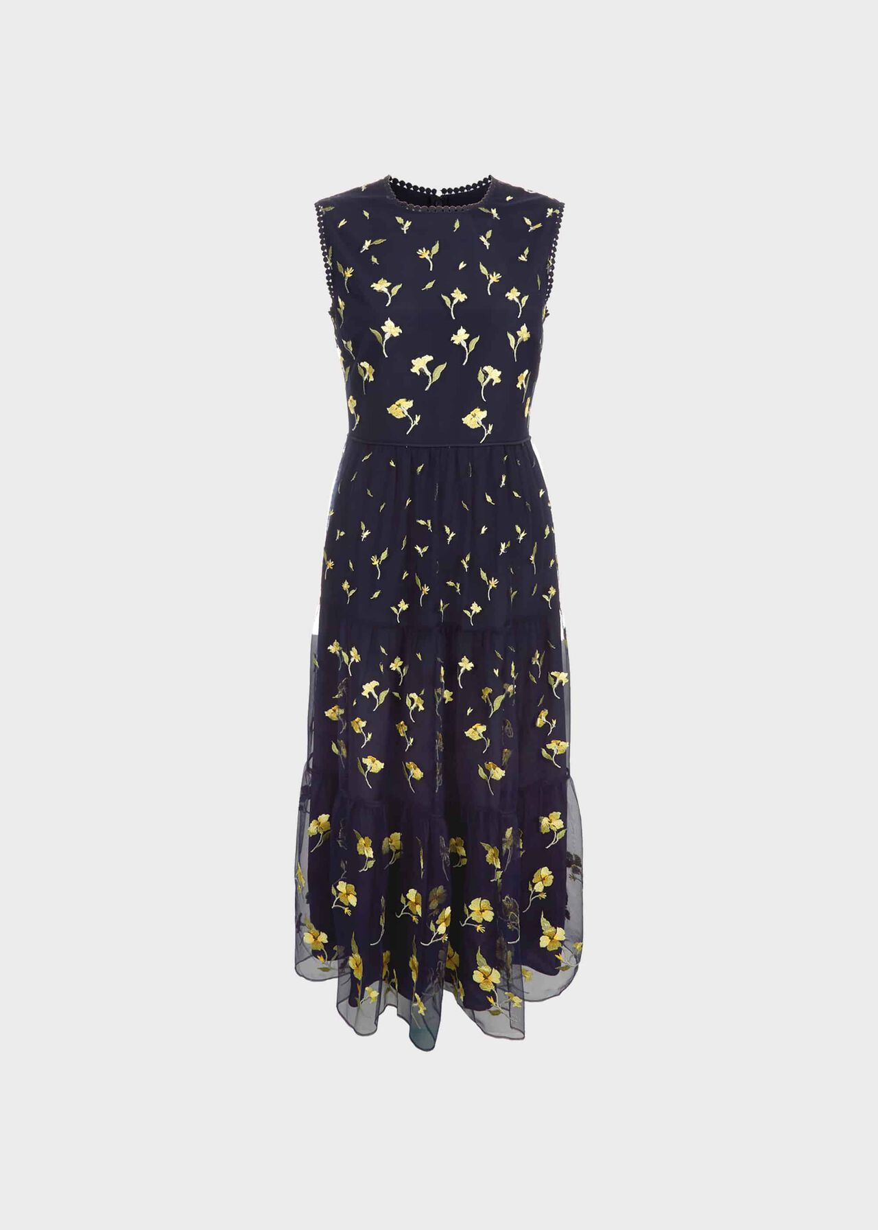 Bethany Embroidered Dress Midnight Yellow