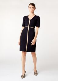 Polly Knitted Dress, Navy Camel, hi-res