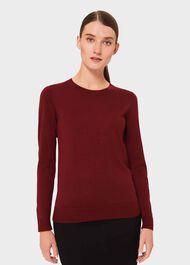 Penny Merino Wool Jumper, Burgundy, hi-res
