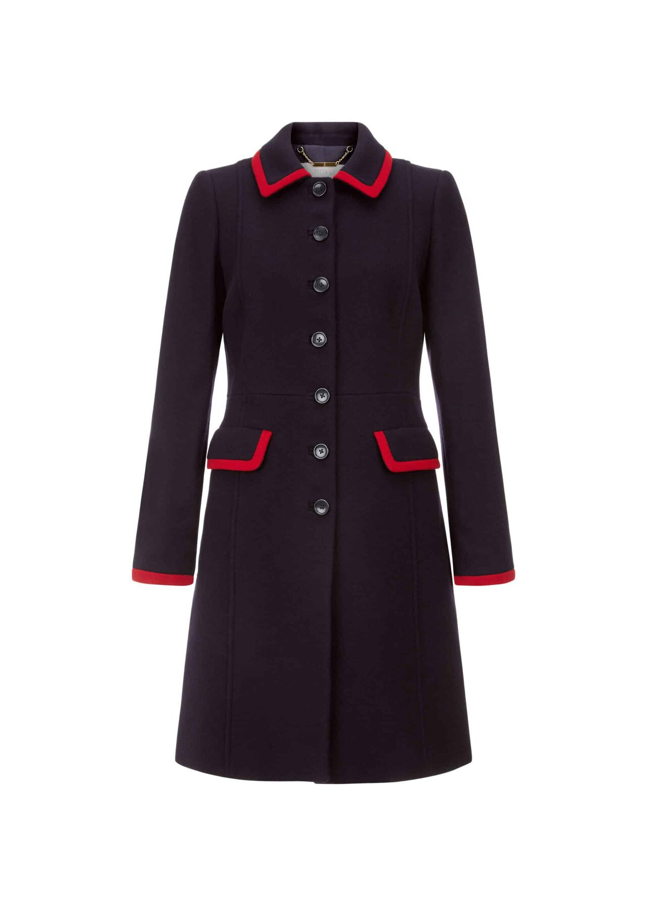 Elle Wool Blend Coat Navy Red