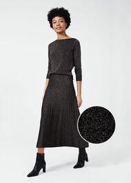 Ira Knitted Skirt, Black Gold, hi-res