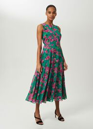 Carly Floral Midi Dress, Fld Grn Fschia, hi-res