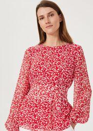 Rosie Floral Top, Rasp Red Ivory, hi-res