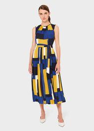 Alba Colourblock Midi Dress, Blue Multi, hi-res