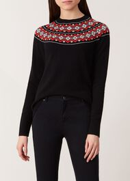 Georgina Merino Wool Blend Sweater, Black Multi, hi-res