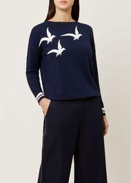 Gemma Wool Blend Sweater, Navy Ivory, hi-res