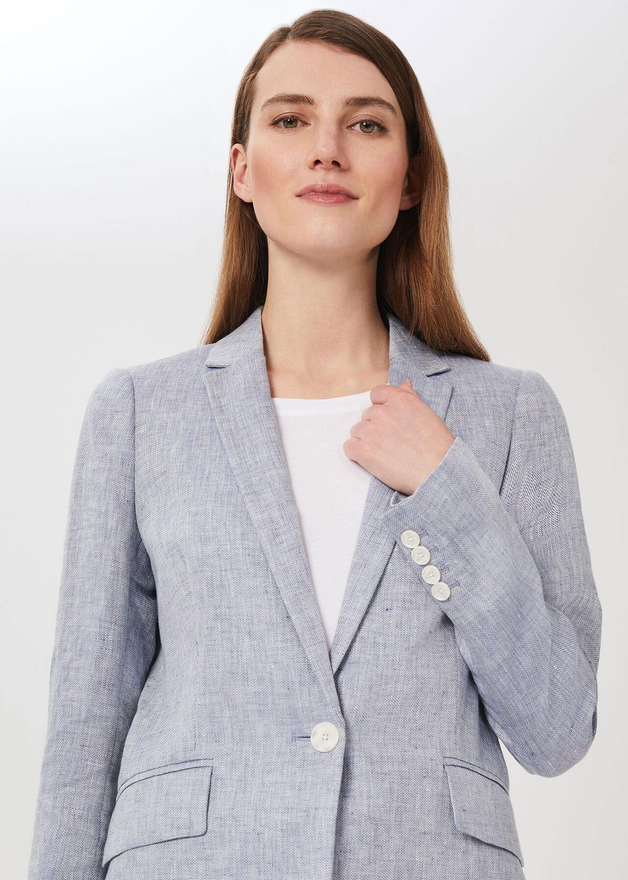 Ivana Linen Jacket, Pale Blue, hi-res