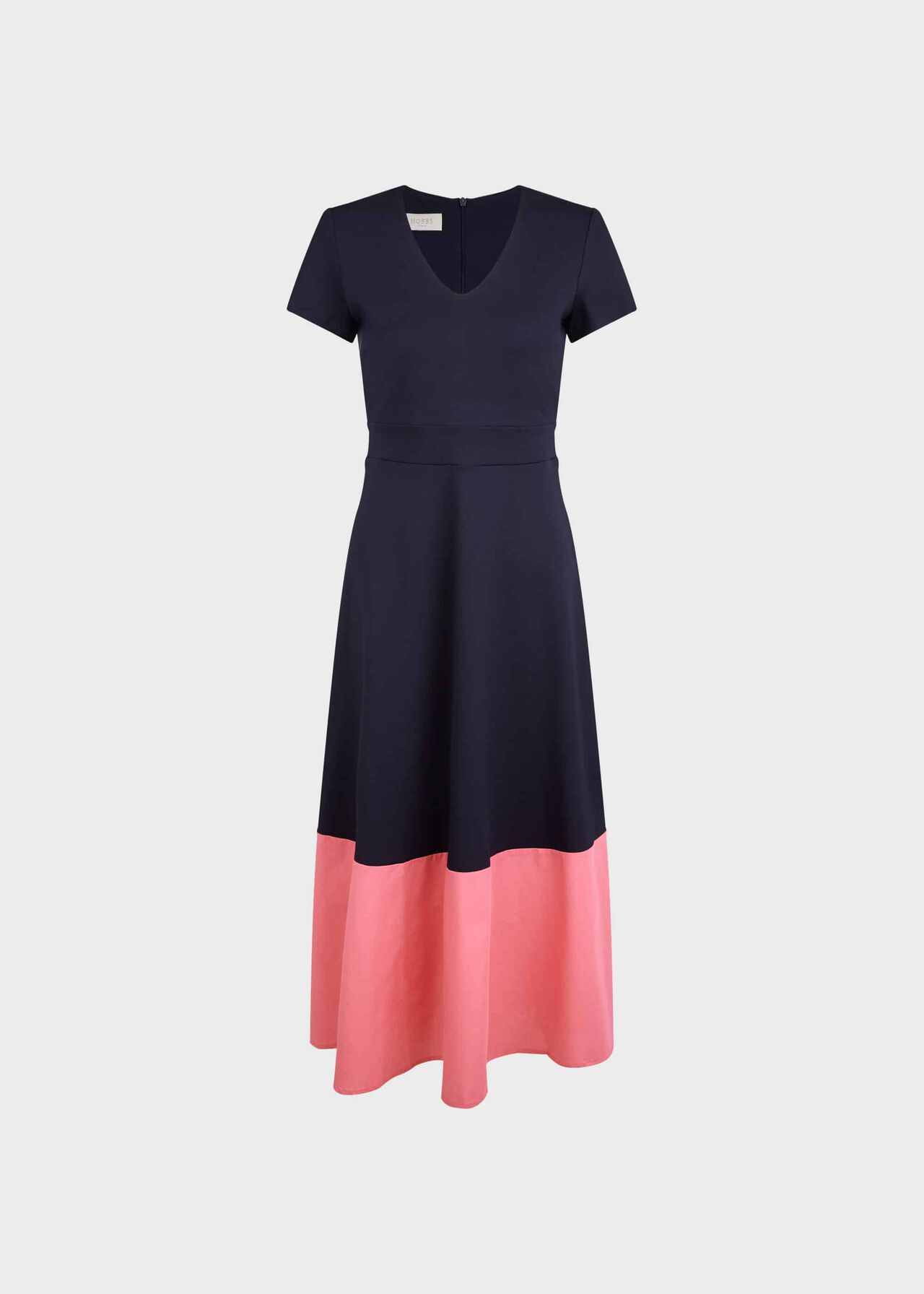Evangeline Jersey Colourblock Midi Dress Navy Rouge Pink