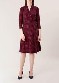 April Jersey Wrap Dress, Red Navy, hi-res