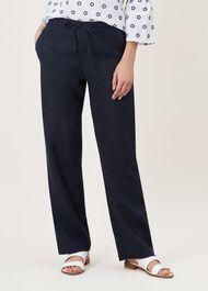 Porthmeor Linen Trouser, Navy, hi-res