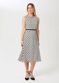 Adeline Jacquard  Spot Dress, Ivory Black, hi-res