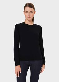 Maria Cashmere Crew Neck Sweater, Navy, hi-res