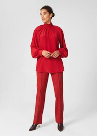 Mollie Silk Blouse, Red, hi-res