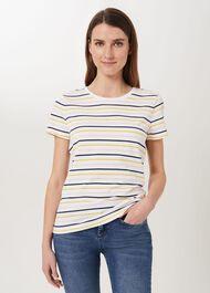 Pixie Cotton Stripe T-Shirt, White Multi, hi-res