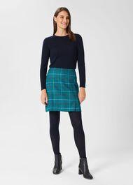 Amaris A line Wool Skirt, Green Multi, hi-res