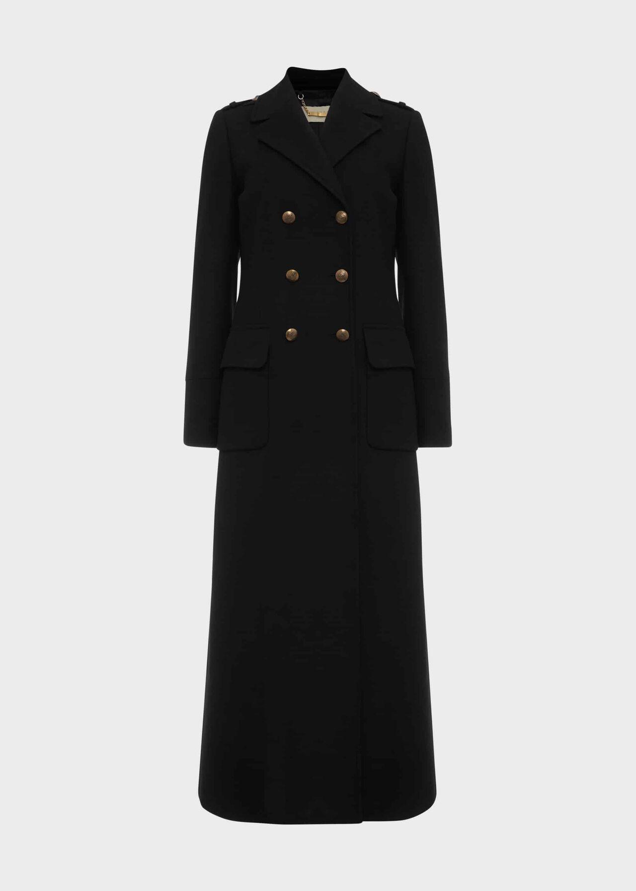Bianca Wool Blend Military Coat Black