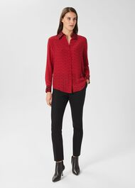 Eva Silk Shirt, Red Black, hi-res