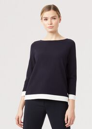Gracie Sweater, Navy Ivory, hi-res