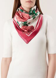 Rose Silk Scarf, Pink Multi, hi-res