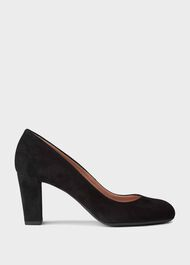 Sonia Suede Block Heel Court Shoes, Black, hi-res