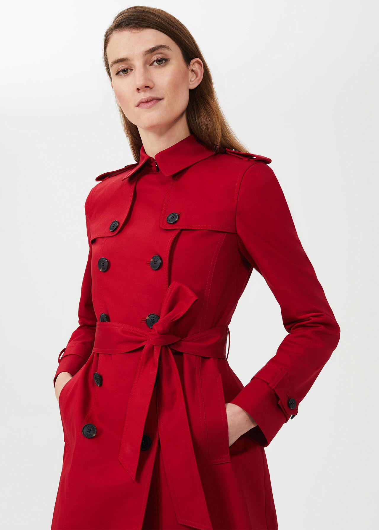 Saskia Water Resistant Trench Coat, Red, hi-res