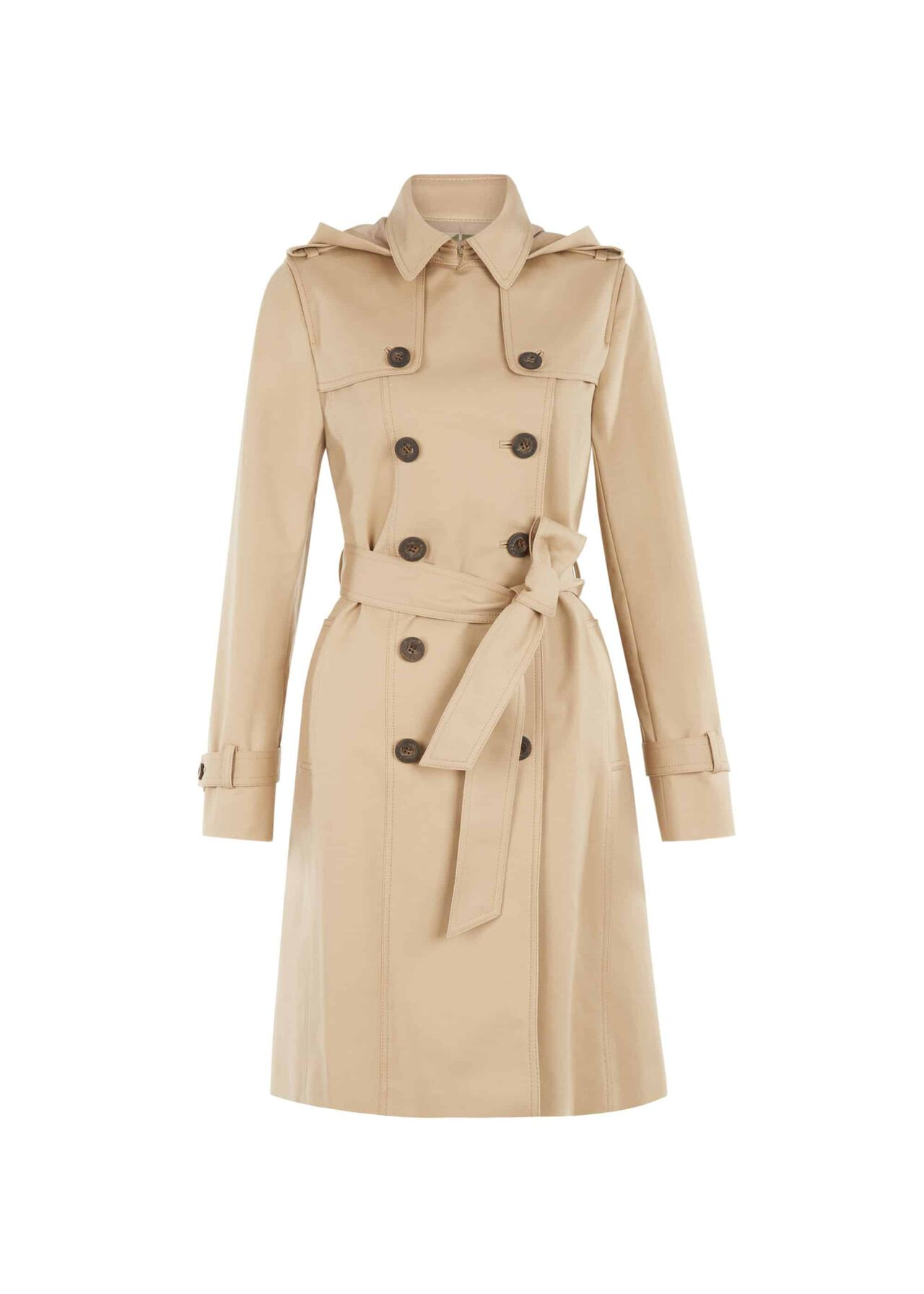 Hooded Saffie Water-Resistant Trench Coat Neutral