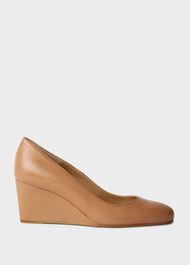 Emma Leather Wedge Court Shoes, Toasted Almond, hi-res