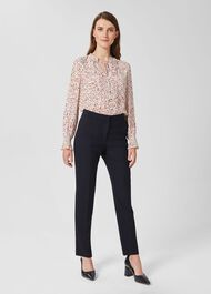 Gael Wool Blend trousers With Stretch, Navy, hi-res