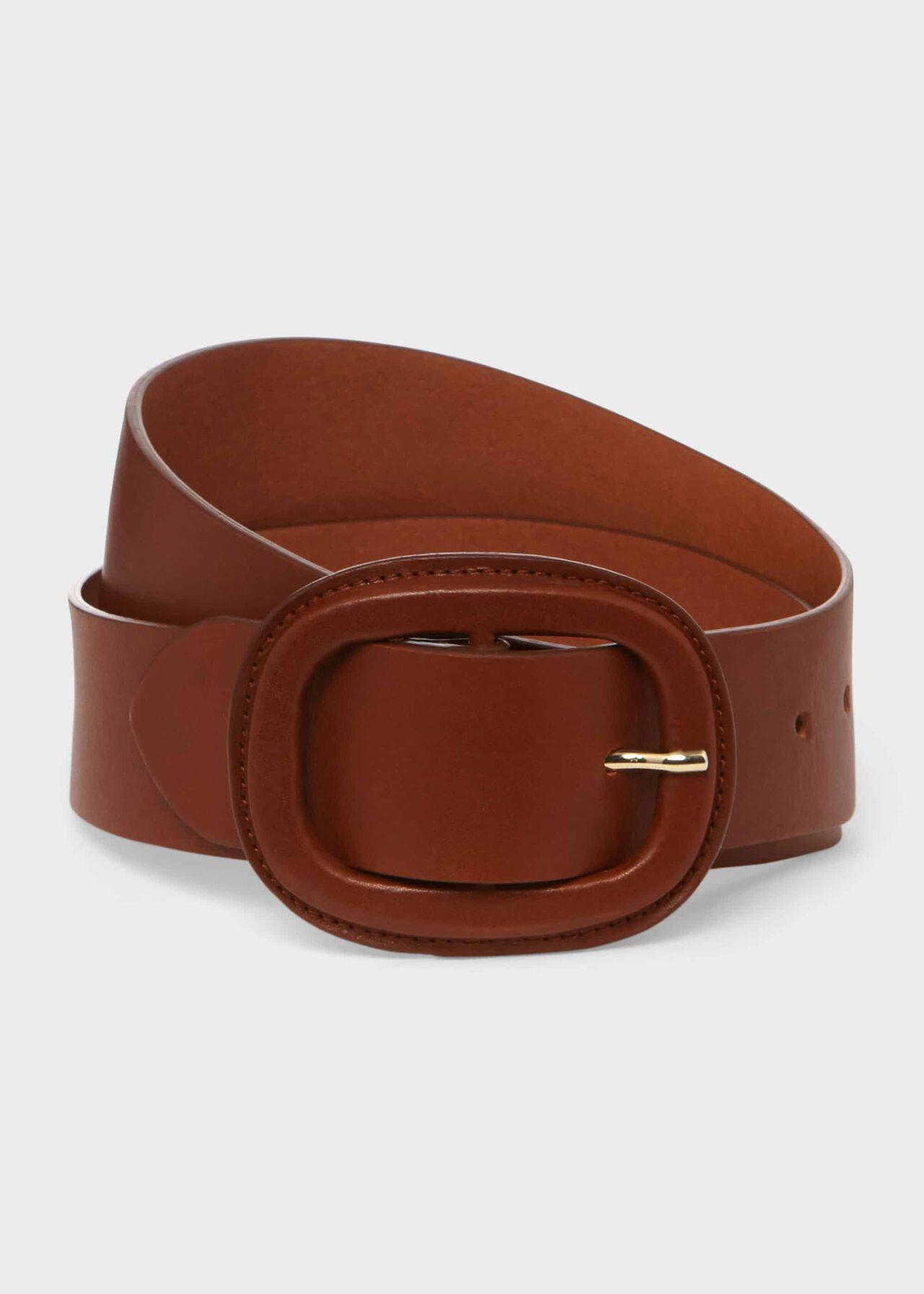Abbie Leather Belt , Tan, hi-res